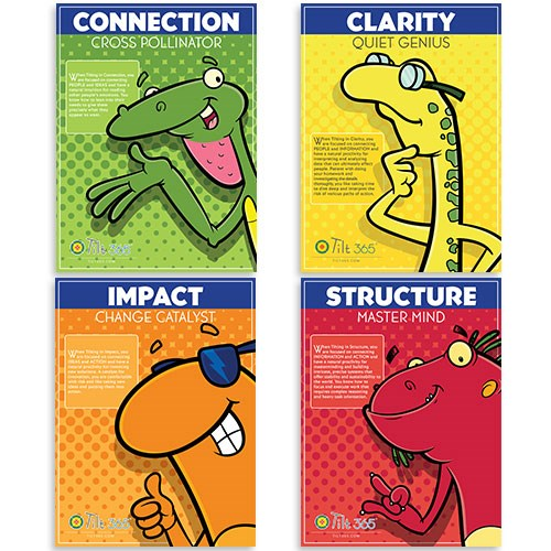 "Tilt Characters Posters (36"" X 48""), laminated for durability, includes mounting strips - Suite of 4 posters"