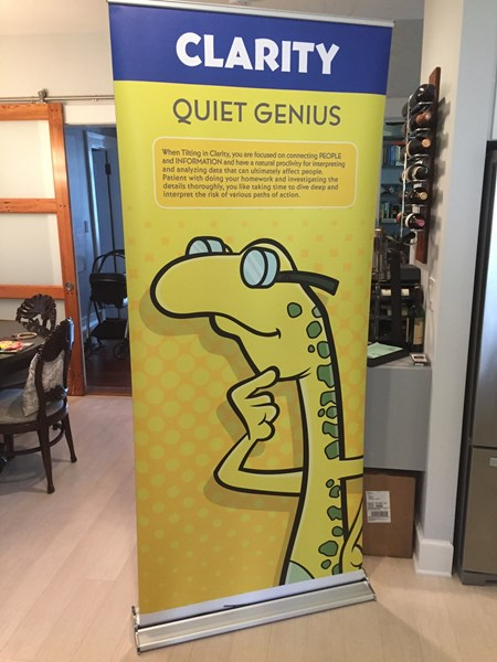 "Tilt Characters Pull-Up Banners (33.5"" X 85"") - Set of 4."