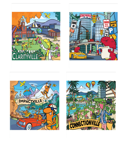 "Tilt ""Villes"" Posters (36"" x 36""), laminated for durability, includes mounting strips - Suite of 4 posters"