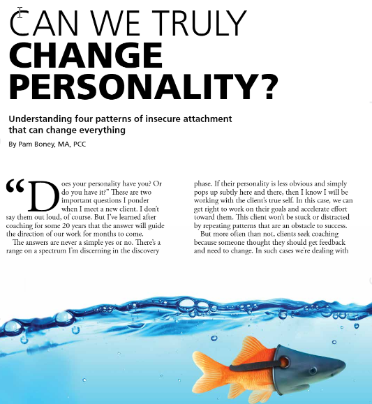 Can we truly change personality? Magazine article by Pam Boney